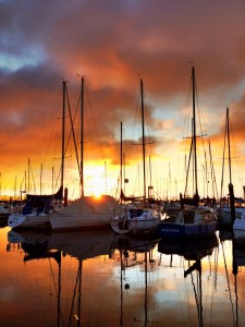 A beautiful sunset from the marina