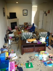 During our transition the living room was a disaster area